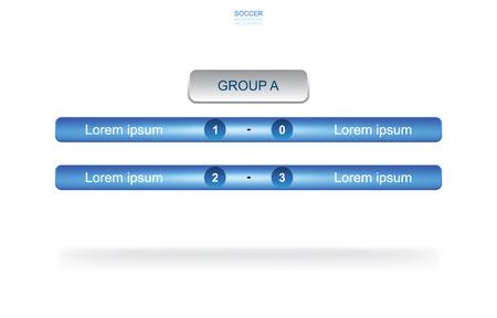 Fondo de grupo de equipo de calendario de partidos para la copa de fútbol del campeonato mundial de fútbol. Calendario de torneos de fútbol soccer. Ilustración vectorial. Ilustración de vector