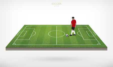 Soccer player and soccer football ball in area of soccer field with white background. Abstract action of outdoor sport for create soccer game. Vector Illustration