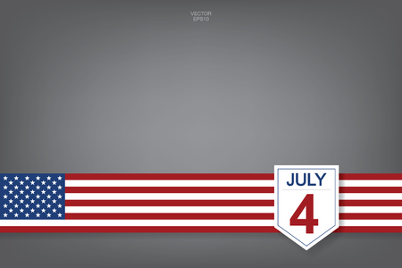 4th of July - Abstract background sign and symbol for USA(United States of America) Independence Day. Vector illustration.
