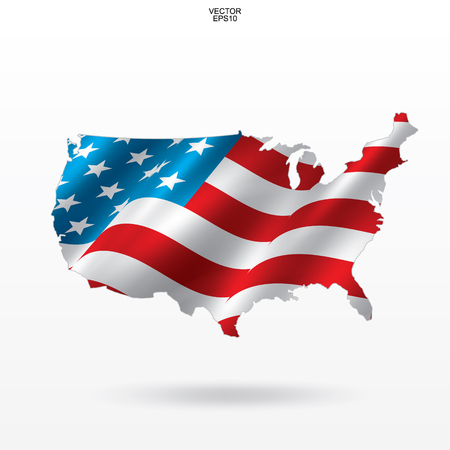 Map of the USA with american flag pattern and waving. Outline of United States of America map on white background with soft shadow. Vector illustration Иллюстрация