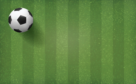 Soccer football ball on green grass field pattern and texture background. Vector illustration.