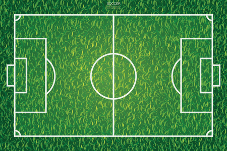 Soccer football field pattern and texture for background. Vector illustration. 向量圖像