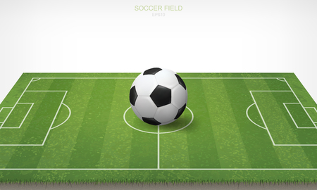 Soccer football ball in soccer field area and white background. Green grass of soccer field with pattern and texture in perspective views. Vector illustration. Illustration