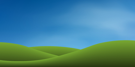Green grass hill with blue sky. Abstract background park and outdoor for landscape idea. Use for natural article both on print and website. Vector illustration.