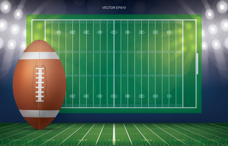 Football ball on football field stadium background. With perspective line pattern of american football field. Vector illustration.