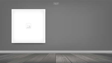Empty photo frame or picture frame background in room space area with gray wall background and wooden floor. Vector idea for room design and interior decoration.