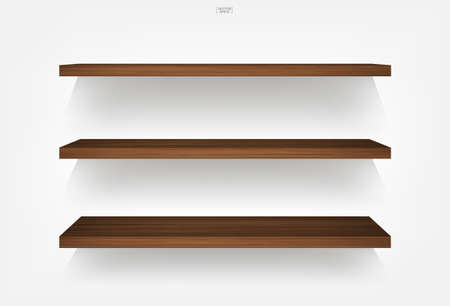Empty wood shelf on white background with soft shadow. 3D empty wooden shelves on white wall. Vector illustration.  イラスト・ベクター素材