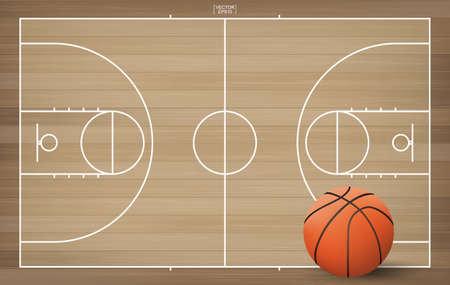 Pelota de baloncesto en el fondo del campo de baloncesto. Ilustración de vector. Ilustración de vector