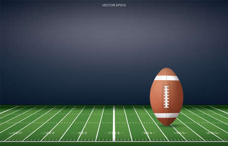 Football ball on football field stadium background. With perspective line pattern. Vector illustration.