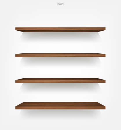 Empty wood shelf on white background with soft shadow. 3D empty wooden shelves on white wall. Vector illustration. 矢量图像