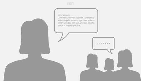 People talking with bubble sign area for copy space. Human thinking with empty chat and idea bubble. Vector illustration. Illustration