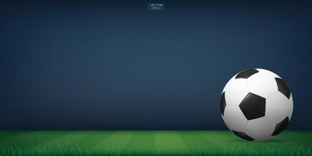 Soccer football ball on green grass of soccer field or football field stadium background. Vector illustration.