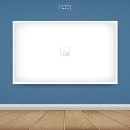 Empty photo frame or picture frame background in room space area with blue wall background and wooden floor. Vector idea for room design and interior decoration.  イラスト・ベクター素材