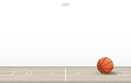 Basketball ball on basketball court with wooden floor pattern and texture. Basketball field isolated on white background. Vector illustration.