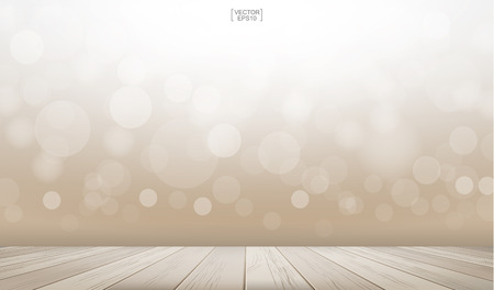 Wooden deck or wooden terrace with light blurred bokeh background used for montage or display product. Outdoor background with perspective wood pattern and texture. Vector illustration. Иллюстрация
