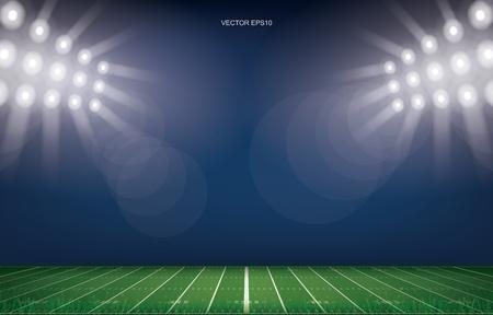 Fondo dello stadio del campo di football americano. Con motivo a linee prospettiche del campo di football americano. Illustrazione vettoriale. Vettoriali