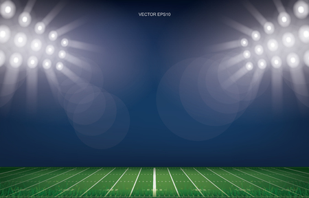 American football field stadium background. With perspective line pattern of american football field. Vector illustration.