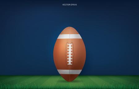 Football ball on football field stadium background. With perspective line pattern. Vector illustration. Ilustração