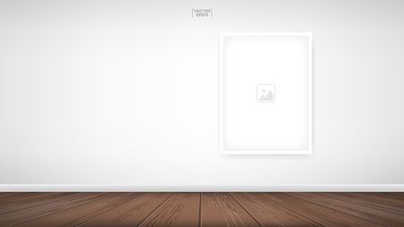 Empty photo frame or picture frame background in room space area with white concrete wall background and wooden floor. Vector illustration. Векторная Иллюстрация