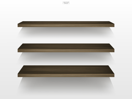 Empty wood shelf on white background with soft shadow. 3D empty wooden shelves on white wall. Vector illustration. Ilustração