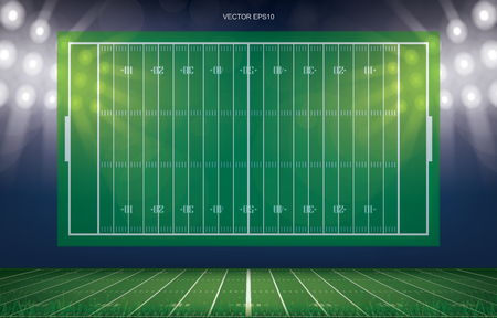 Football field stadium background with perspective line pattern of green grass field. Vector illustration.