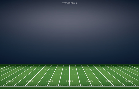 American football stadium background with perspective line pattern of grass field. Vector illustration. Çizim