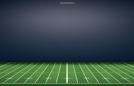 Sfondo di stadio di football americano con motivo a linea prospettica del campo in erba. Illustrazione vettoriale. Vettoriali