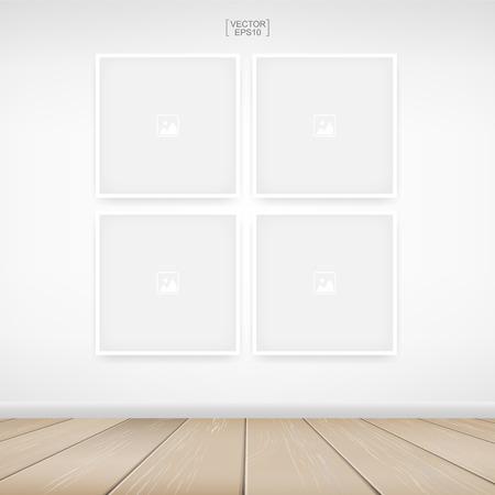 Empty photo frame or picture frame background in room space area with white concrete wall background and wooden floor. Vector illustration.
