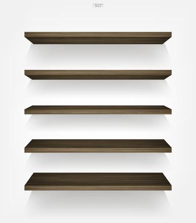 Estante de madera vacío sobre fondo blanco con sombra suave. Estantes de madera vacíos 3D en la pared blanca. Ilustración de vector.