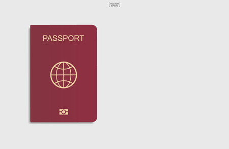 Red passport on white background. Vector illustration.