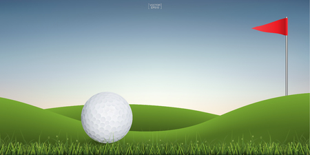 Golf ball on green hill of golf court with sunset sky background. Vector illustration.