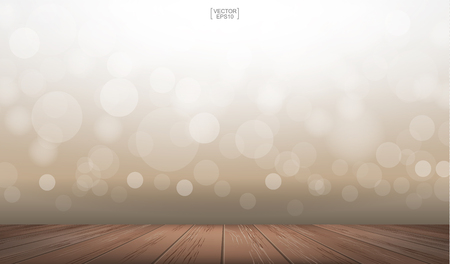 Wooden deck or wooden terrace with light blurred bokeh background used for montage or display product. Outdoor background with perspective wood pattern and texture. Vector illustration. Illustration