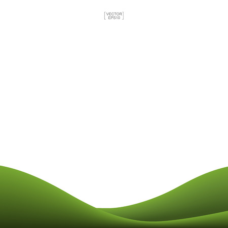 Green grass hill background isolated on white. Outdoor abstract background for natural template design. Vector illustration.