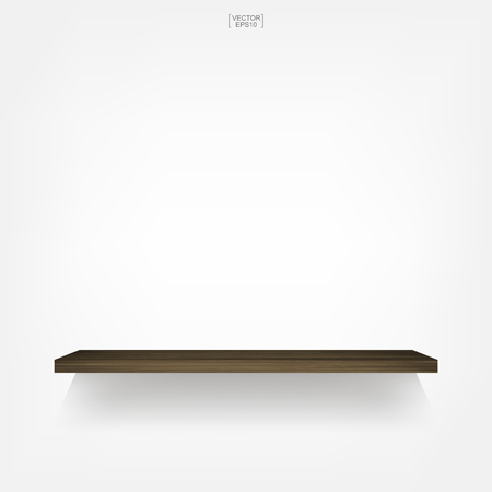 Empty wood shelf on white background with soft shadow. 3D empty wooden shelves on white wall. Vector illustration. Illustration