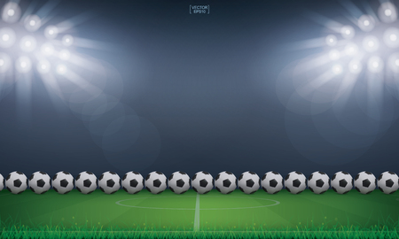 Soccer football ball on green grass of soccer field or football field stadium background. Vector illustration.