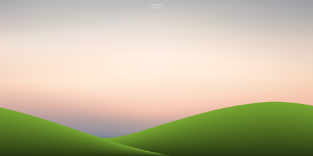 Green grass hill and sunset sky background. Outdoor natural background for template design. Vector illustration. Illustration