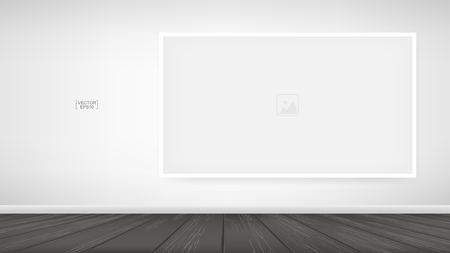 Empty photo frame or picture frame background in room space area with white wall background and wooden floor. Vector idea for room design and interior decoration.