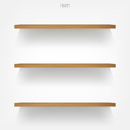 Étagère en bois vide sur fond blanc avec une ombre douce. Étagères en bois vides 3D sur mur blanc. Illustration vectorielle.