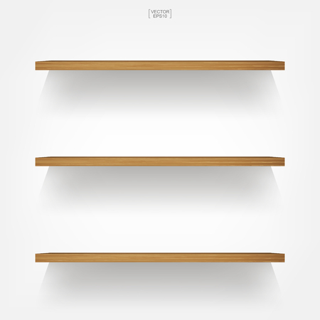 Empty wood shelf on white background with soft shadow. 3D empty wooden shelves on white wall. Vector illustration. Stock Illustratie