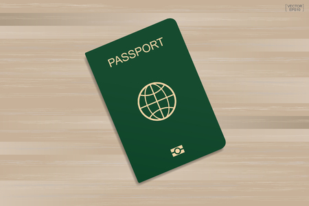Green passport on wood pattern and texture background. Vector illustration.