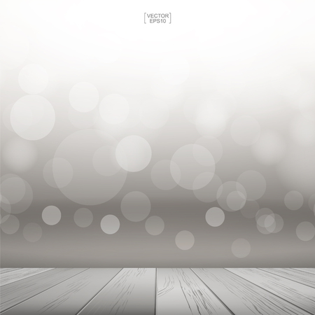 Wooden deck or wooden terrace with light blurred bokeh background. Wood table top and light blurred bokeh background used for montage or display products. Vector illustration
