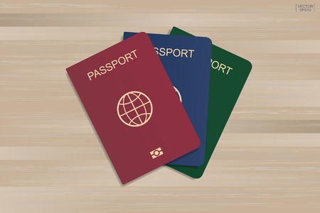 Set of passport on wood pattern and texture background. Vector illustration.