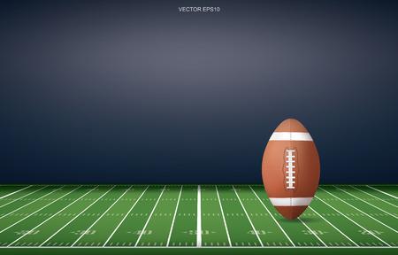 Balón de fútbol en el fondo del estadio de campo de fútbol. Con patrón de línea de perspectiva. Ilustración de vector.