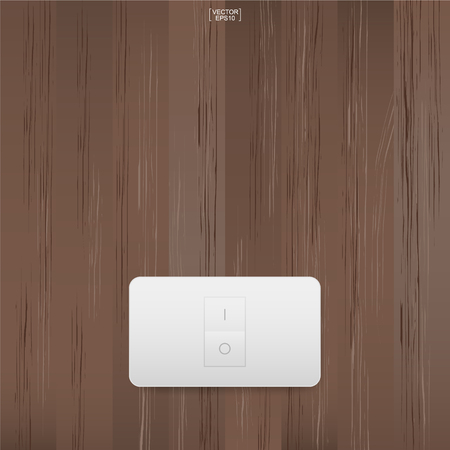 Light switch on wood wall background. Vector illustration.
