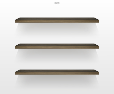 Empty wood shelf on white background with soft shadow. 3D empty wooden shelves on white wall. Vector illustration. Illusztráció