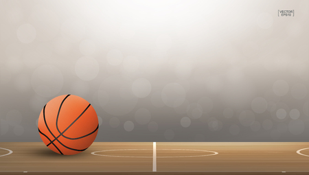 Basketball ball on basketball court area with light blurred bokeh background. Abstract background for basketball sport with light effect. Vector illustration.