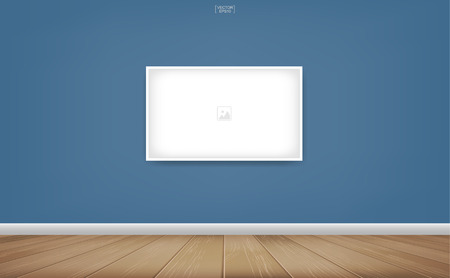 Empty photo frame or picture frame background in room space area with blue wall background and wooden floor. Vector idea for room design and interior decoration. Иллюстрация