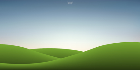 Green grass hill and sunset sky background. Outdoor natural background for template design. Vector illustration.