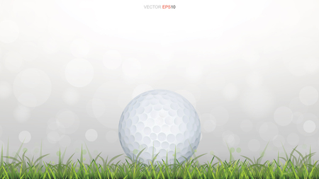 Golf ball on green grass field with light blurred bokeh background. Vector illustration.