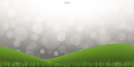 Green grass hill with light blurred bokeh background. Outdoor abstract background. Vector illustration.
